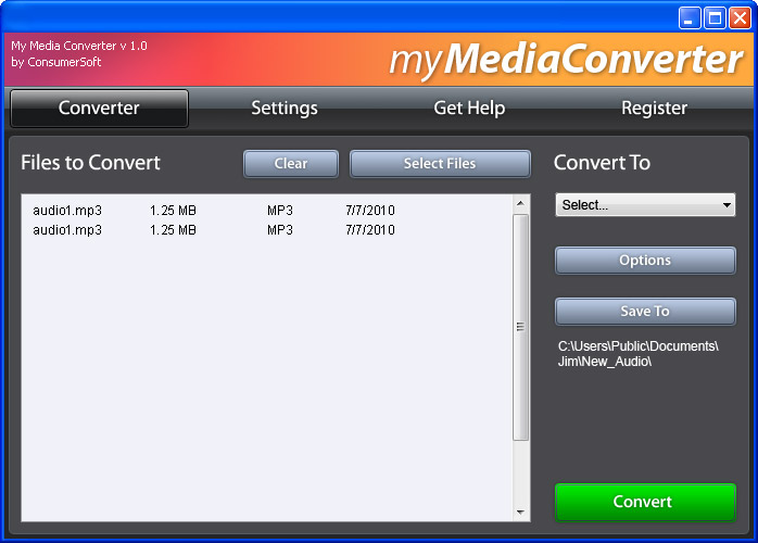 My Media Converter, MyMediaConverter, Media Converter, Image Converter, Graphics Converter, Audio Converter, Music Converter, Video Converter, JPG, GIF, PNG, BMP, TIF, MP3, WAV, AIF, WMA, OGG, AAC, M4A, MOV, AVI, WMV, FLV, MP4, MPG, ConsumerSoft